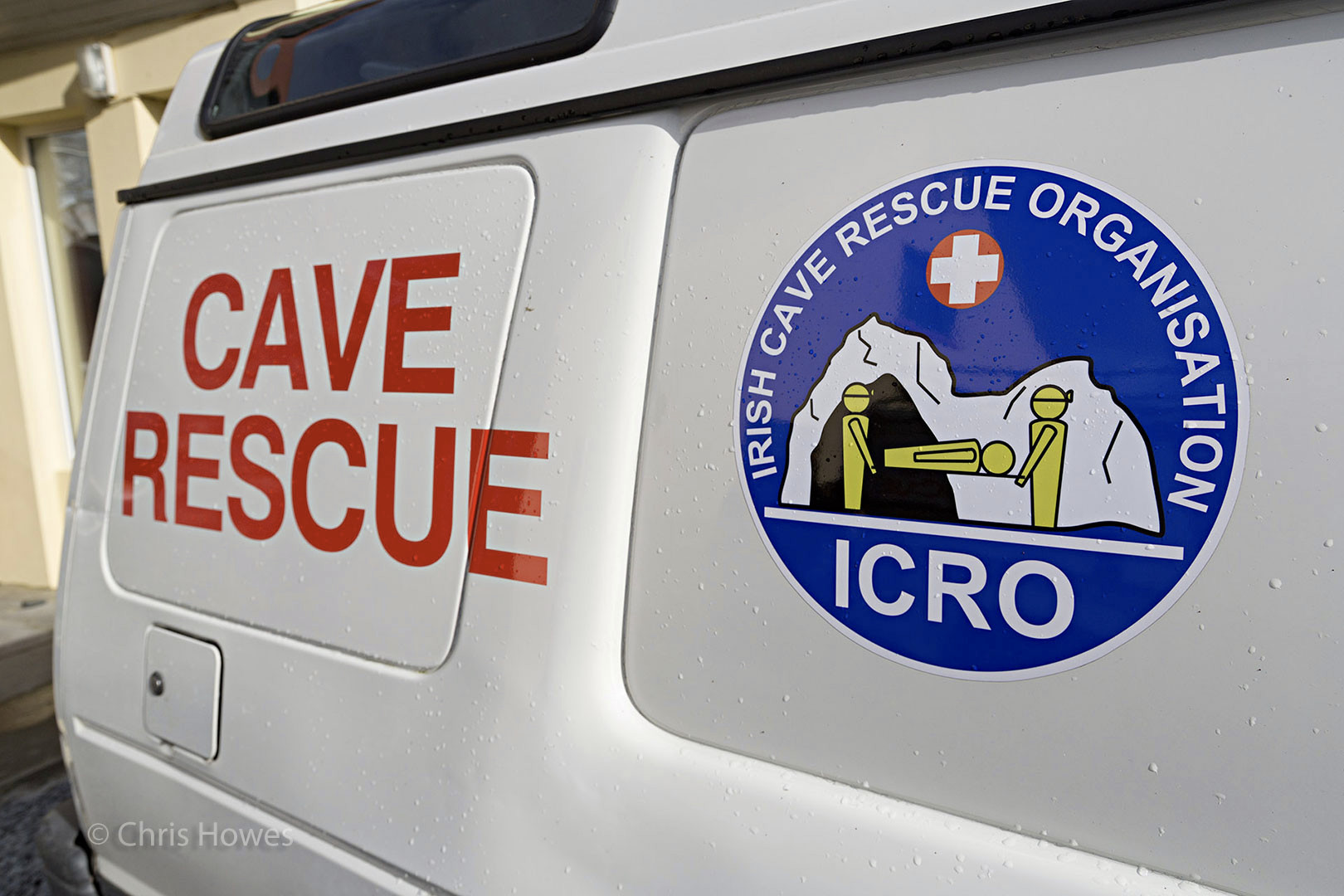 Irish Cave Rescue Organisation logo and name on Land Rover, Co. Clare, Ireland