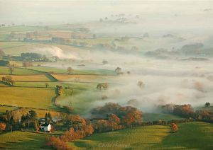 Morning mist from the Skirrid Fawr, South Wales